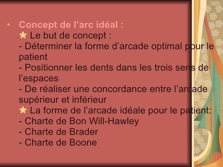 <ul><li>Concept de l'arc idéal :    Le but de concept : - Déterminer la forme d'arcade optimal pour le patient - Position...