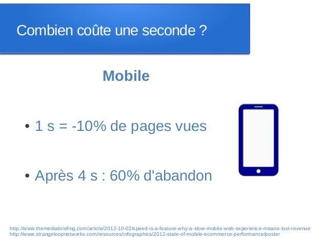 Combien coûte une seconde ?                                     Mobile     ●    1 s = -10% de pages vues     ●    Après 4 ...