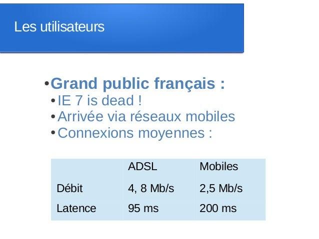 Les utilisateurs     ●   Grand public français :         ● IE 7 is dead !         ● Arrivée via réseaux mobiles         ● ...
