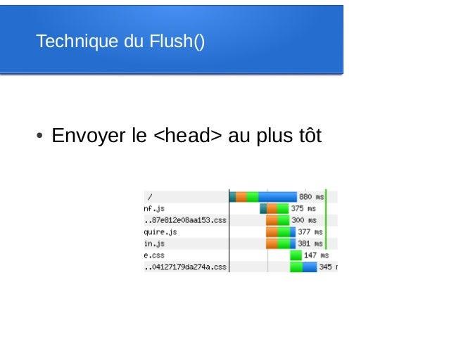 Technique du Flush()●   Envoyer le <head> au plus tôt