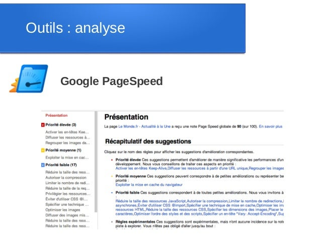 Outils : analyse     Google PageSpeed