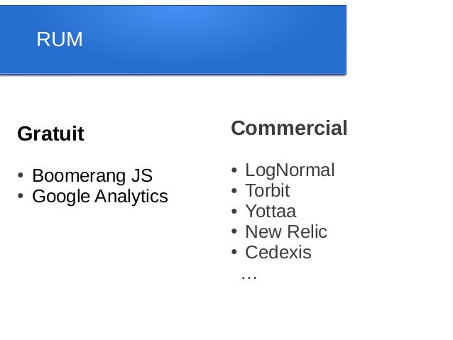 RUMGratuit                Commercial●   Boomerang JS                       ● LogNormal                       ● Torbit●   G...