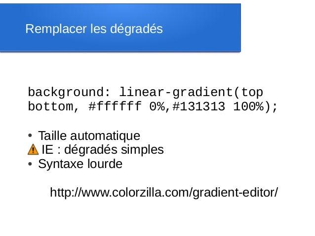 Remplacer les dégradésbackground:linear-gradient(topbottom,#ffffff0%,#131313100%);●   Taille automatique     IE : dég...