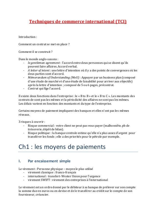 Techniques de commerce international (TCI) Introduction : Comment un contrat se met en place ? Comment il se construit ? D...