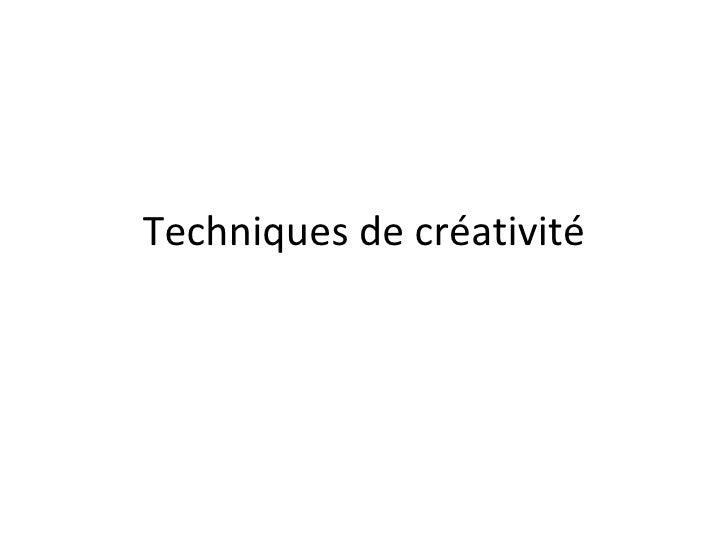 Techniques de créativité