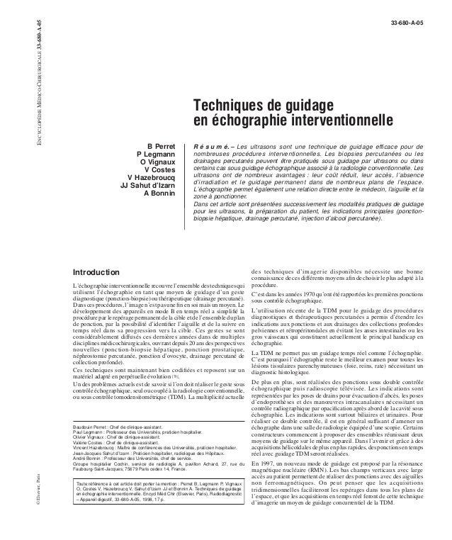 33-680-A-05  Techniques de guidage  en échographie interventionnelle  B Perret  P Legmann  O Vignaux  V Costes  V Hazebrou...