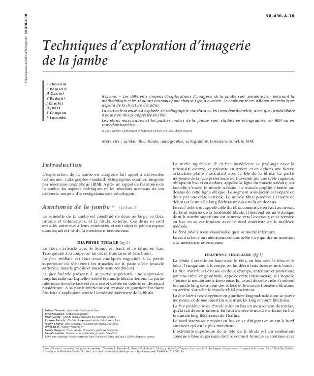 Techniques d'exploration d'imagerie  de la jambe  F Thevenin  B Rousselin  H Guerini  Y Badachi  J Charlot  O Judet  S Cha...