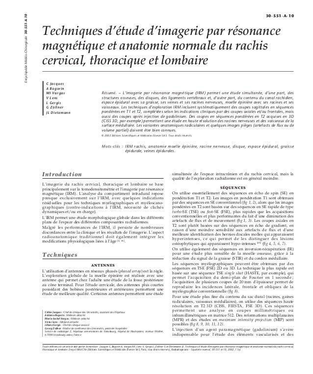 Techniques d'étude d'imagerie par résonance  magnétique et anatomie normale du rachis  cervical, thoracique et lombaire  C...