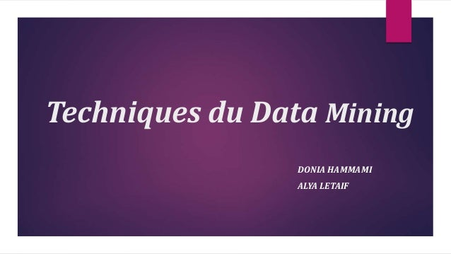 Techniques du Data Mining DONIA HAMMAMI ALYA LETAIF