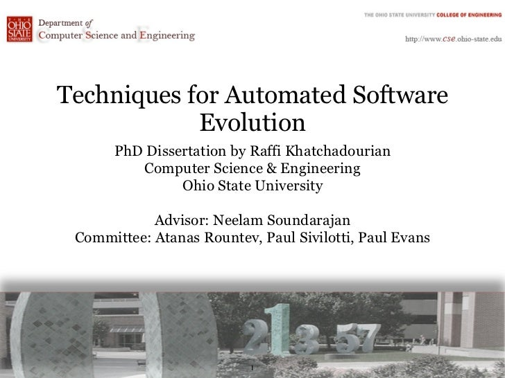 Techniques for Automated Software            Evolution      PhD Dissertation by Raffi Khatchadourian         Computer Scie...