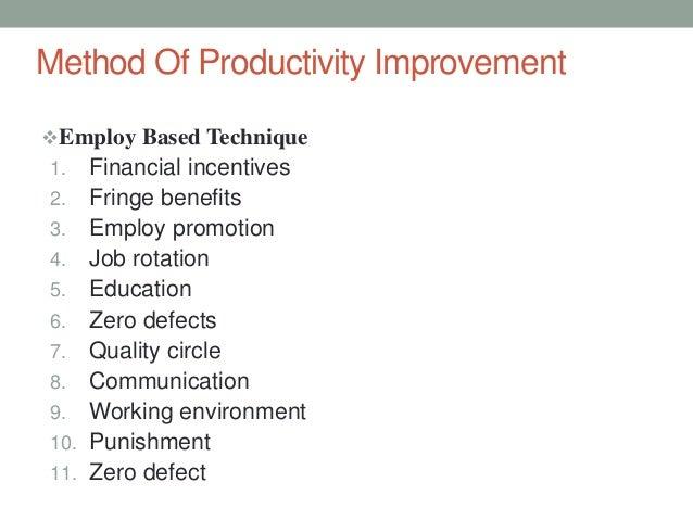Techniques For Measurement Of Productivity