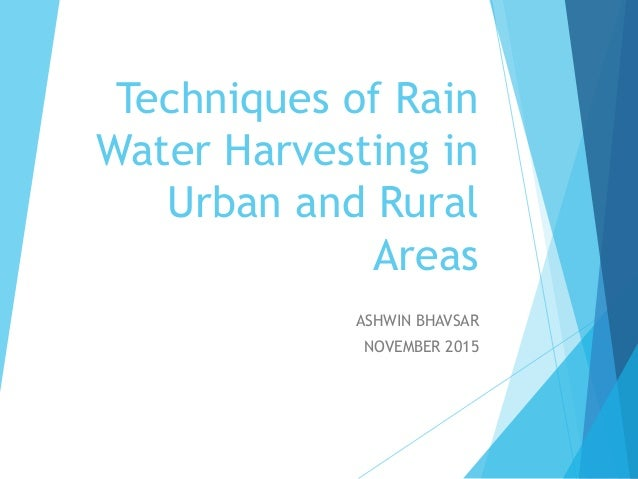 techniques of rain water harvesting to