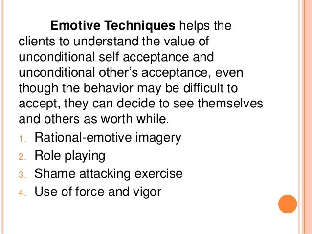 the functions role of the therapist and the techniques of the rational emotive behavioral therapy re Full-text paper (pdf): a synopsis of rational-emotive behavior therapy (rebt) fundamental and applied research.