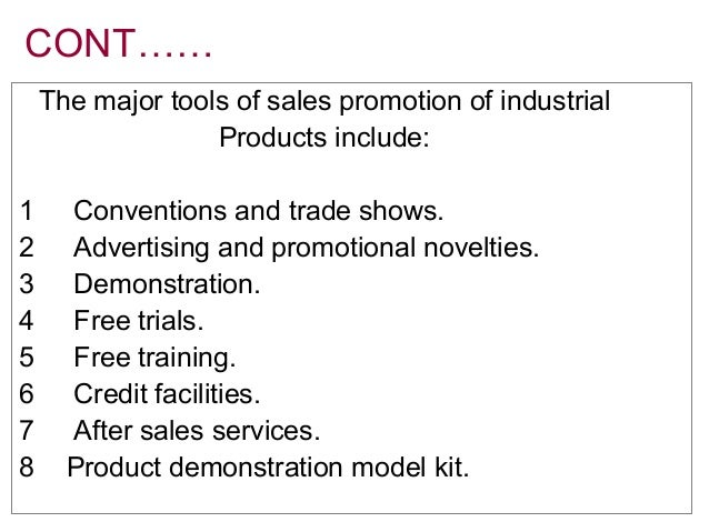 sales promotion tools and techniques