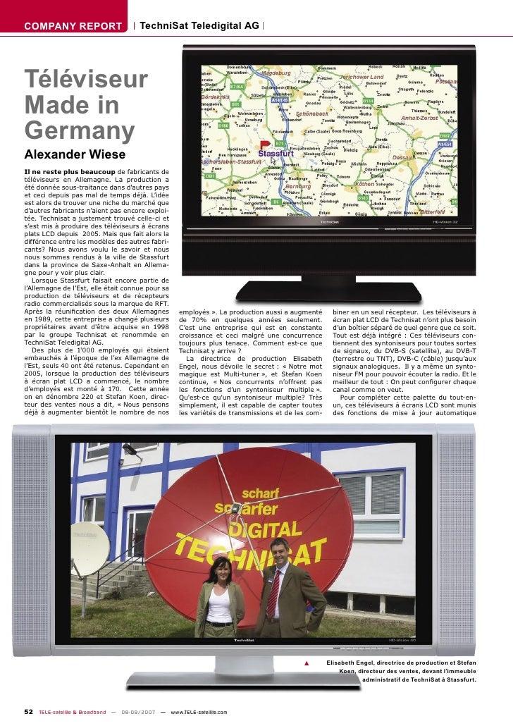 COMPANY REPORT                        TechniSat Teledigital AG     Téléviseur Made in Germany Alexander Wiese Il ne reste ...