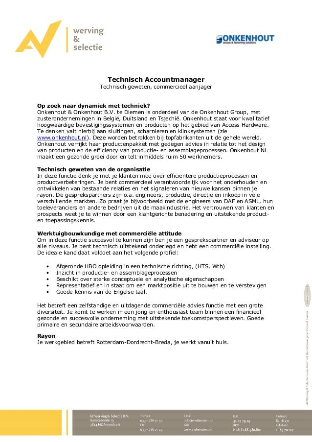 accountmanager sollicitatiebrief Technisch accountmanager   Commerciele Werktuigbouwkundige accountmanager sollicitatiebrief