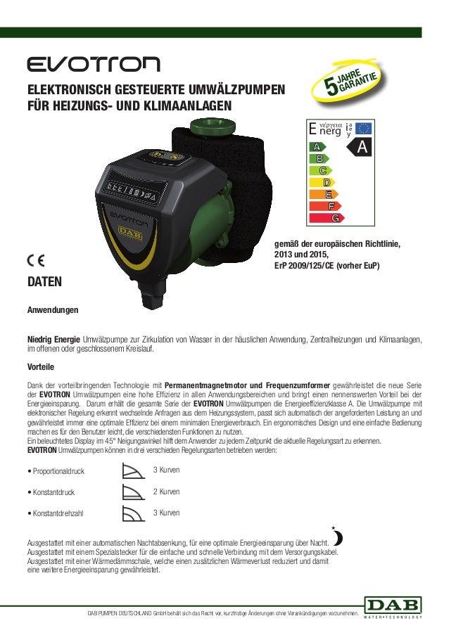 DAB Evotron - Technisches datenblatt evotron Slide 2