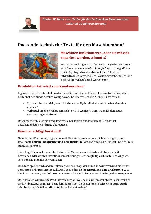 Günter W. Heini - der Texter für den technischen Maschinenbau  - mehr als 14 Jahre Erfahrung!  Packende technische Texte f...