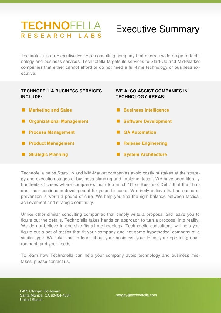 Executive Summary  Technofella is an Executive-For-Hire consulting company that offers a wide range of tech- nology and bu...