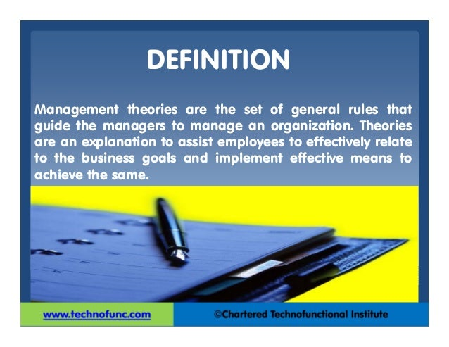 definition of management management theory There is an essential difference between leadership and management which is captured in these definitions: leadership is setting a new direction or vision for a group that they follow, ie: a leader is the spearhead for that new direction.
