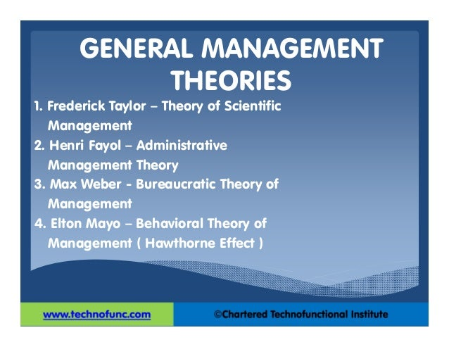 general management theories The first comprehensive theories of management appeared around 1920 the harvard business school offered the first master of business as the general recognition of managers as a class solidified during the 20th century and gave perceived practitioners of the art/science of management.