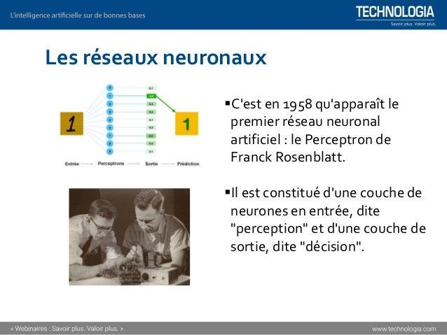 Les réseaux neuronaux ▪C'est en 1958 qu'apparaît le premier réseau neuronal artificiel : le Perceptron de Franck Rosenblat...