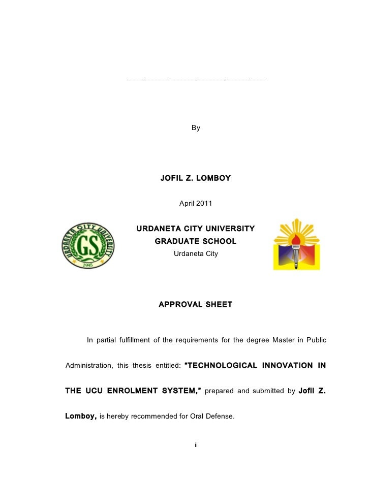 urdaneta city university thesis format
