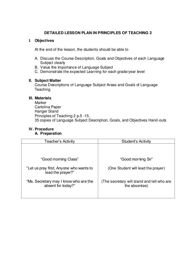 Sample Detailed Lesson Plan – Lesson Plan Objectives
