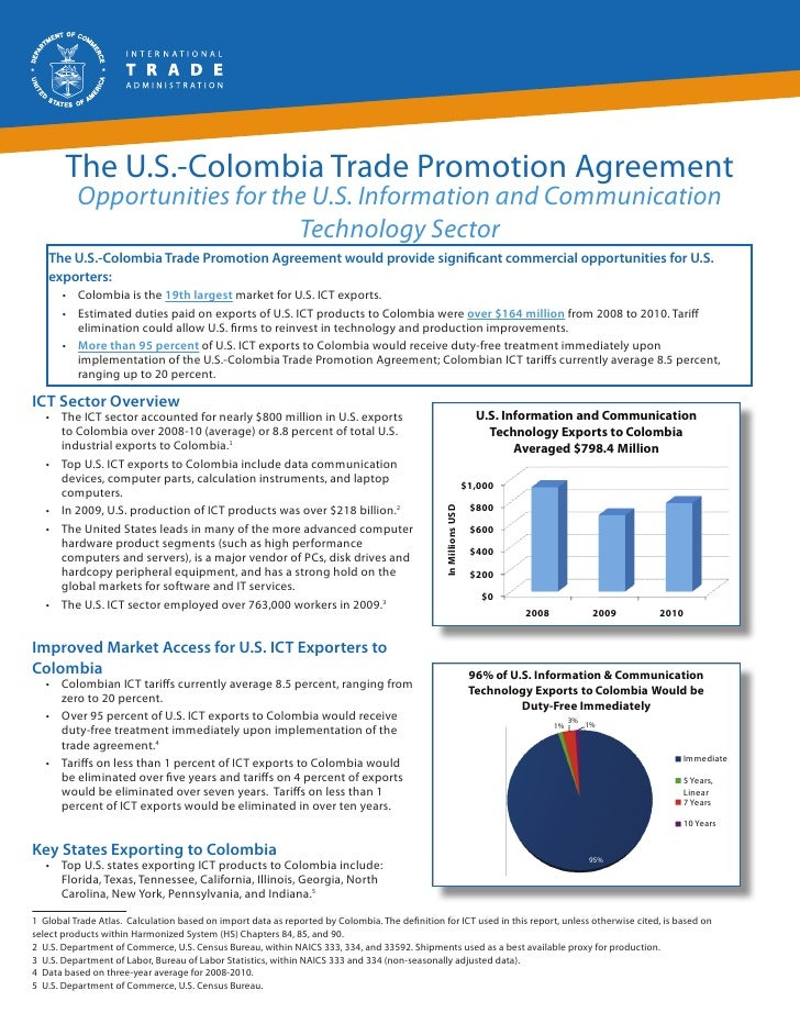 The U.S.-Colombia Trade Promotion Agreement          Opportunities for the U.S. Information and Communication             ...