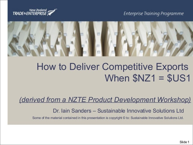 Dr. Iain Sanders – Sustainable Innovative Solutions Ltd Some of the material contained in this presentation is copyright ©...