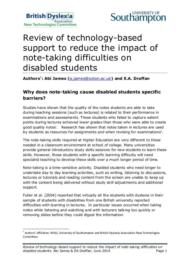 For Students With Disabilities Quality >> Technology Based Note Taking Strategies For Disabled Students June 2