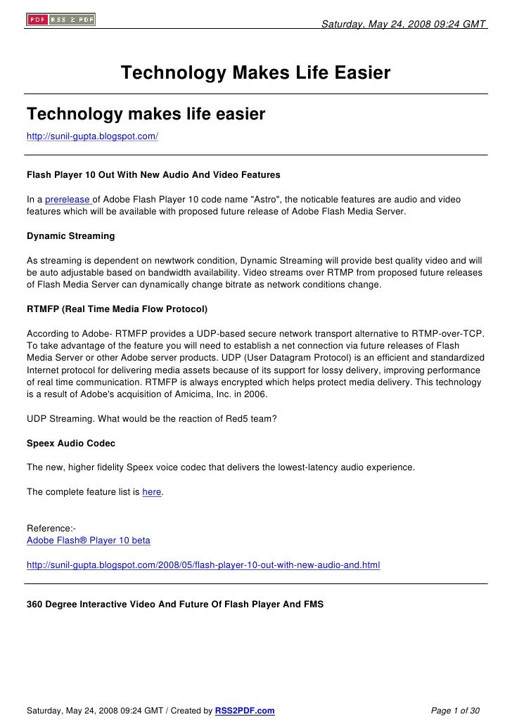 Saturday, May 24, 2008 09:24 GMT                            Technology Makes Life Easier  Technology makes life easier htt...