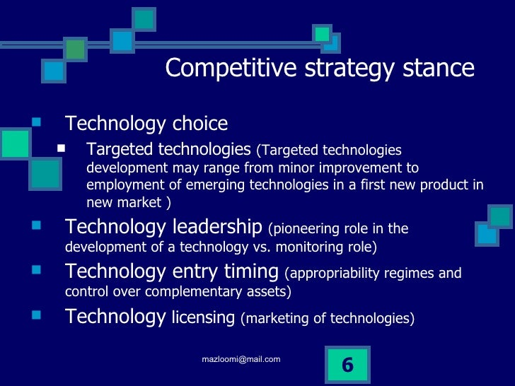 technology strategy Integrate technology strategy with business strategy for increased efficiency and growth opportunities.