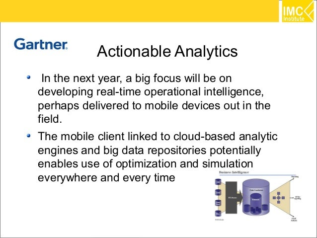 Actionable Analytics In the next year, a big focus will be ondeveloping real-time operational intelligence,perhaps deliver...