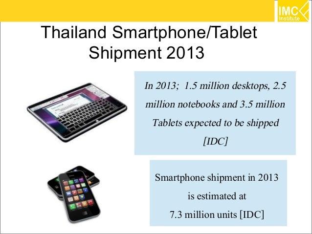 Thailand Smartphone/Tablet      Shipment 2013            In 2013; 1.5 million desktops, 2.5            million notebooks a...