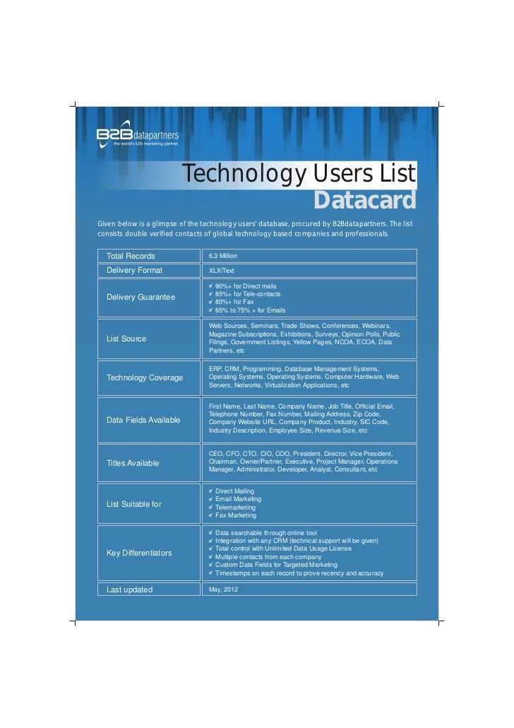 Technology uers list datacard