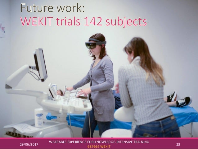 29/06/2017 WEARABLE EXPERIENCE FOR KNOWLEDGE-INTENSIVE TRAINING 687669 WEKIT 23