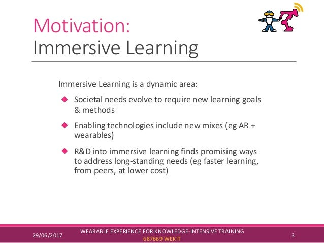 Motivation: Immersive Learning Immersive Learning is a dynamic area: Societal needs evolve to require new learning goals &...
