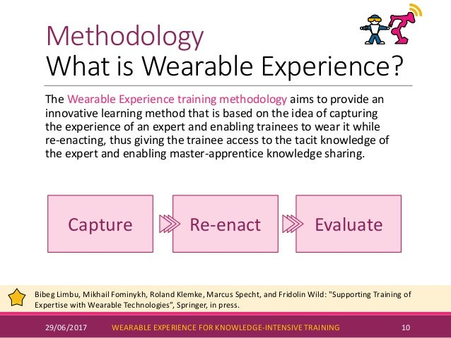 Methodology What is Wearable Experience? 29/06/2017 WEARABLE EXPERIENCE FOR KNOWLEDGE-INTENSIVE TRAINING 10 The Wearable E...