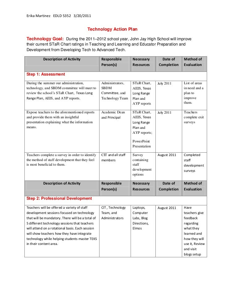 Technology Action Plan<br />Technology Goal:  During the 2011–2012 school year, John Jay High School will improve their cu...