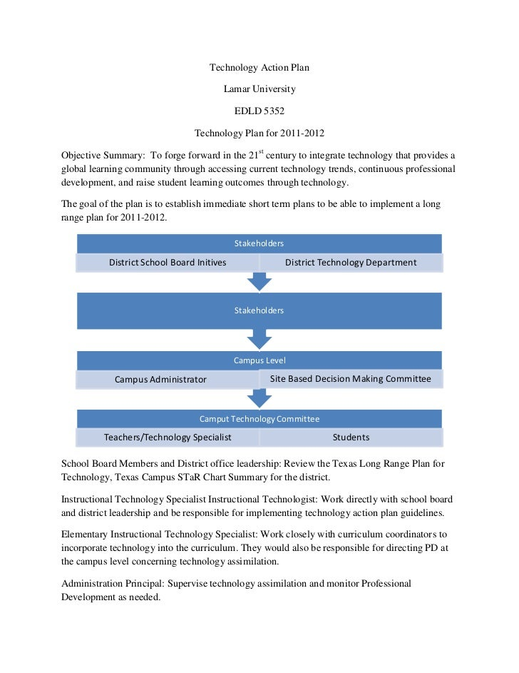 Technology Action Plan<br />Lamar University <br />EDLD 5352<br />Technology Plan for 2011-2012<br />Objective Summary:  T...