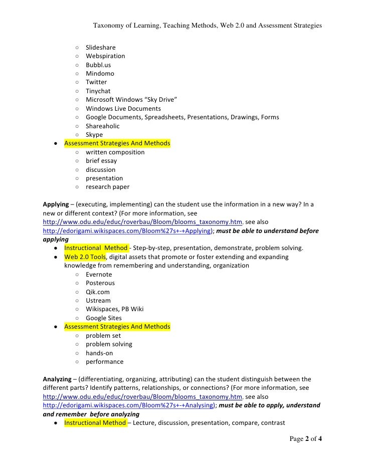 Instructional Methods Web 20 Tools Assessment Strategies And Metho