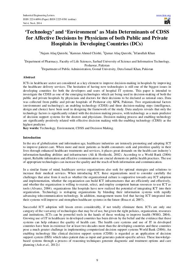 Industrial Engineering Letters www.iiste.org ISSN 2224-6096 (Paper) ISSN 2225-0581 (online) Vol.4, No.6, 2014 9 'Technolog...