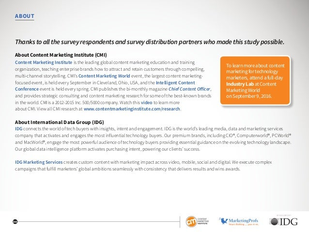 ABOUT Thanks to all the survey respondents and survey distribution partners who made this study possible. About Content Ma...