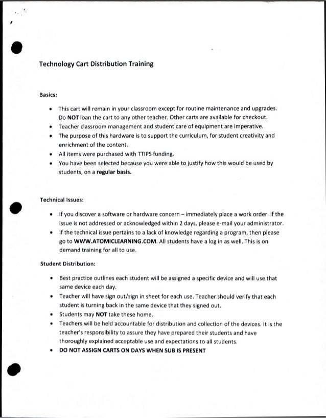 Technology Cart Distribution TrainingBasics:          This cart will remain in your classroom except for routine maintenan...