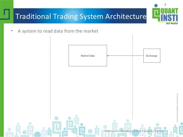 5 Traditional Trading System Architecture • A system to read data from the market Workshop on Algorithmic & High Frequency...