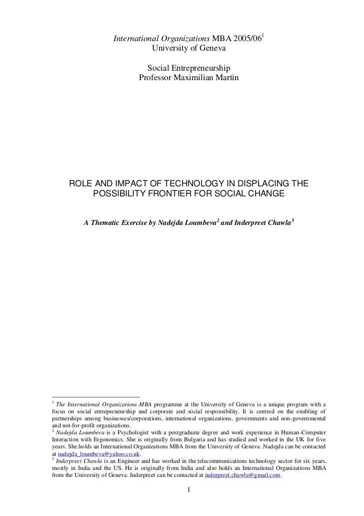 International Organizations MBA 2005/06<br />University of Geneva<br />Social Entrepreneurship<br />Professor Maximilian M...