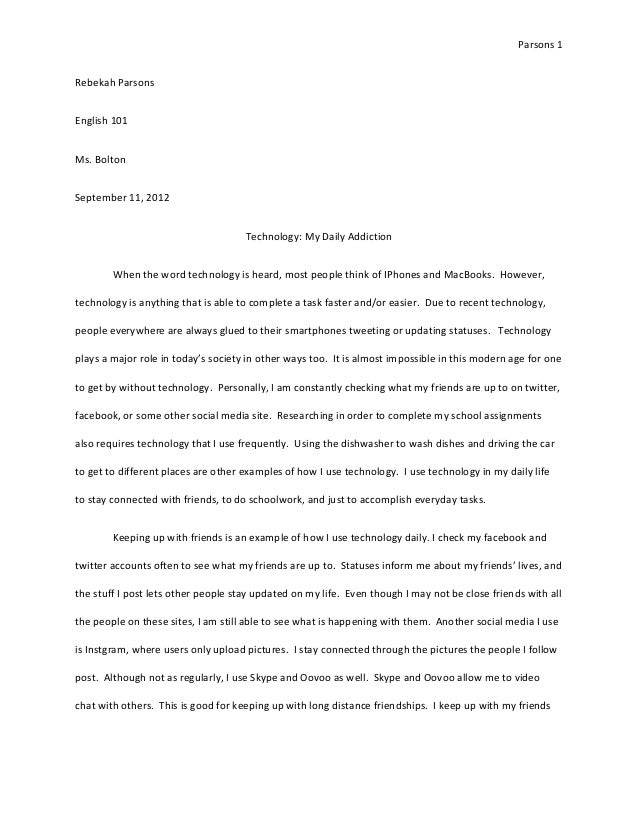 technology essay rev  technology essay rev parsons 1rebekah parsonsenglish 101ms bolton 11