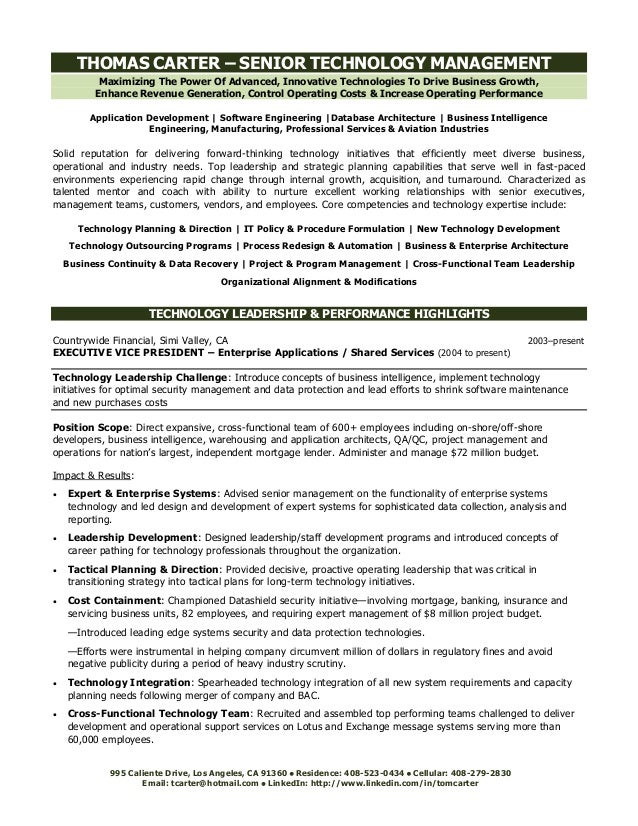 Technology Executive Resume. Maximizing The Power Of Advanced, Innovative  Technologies To Drive Business Growth, Enhance Revenue Generation  Functional Executive Resume