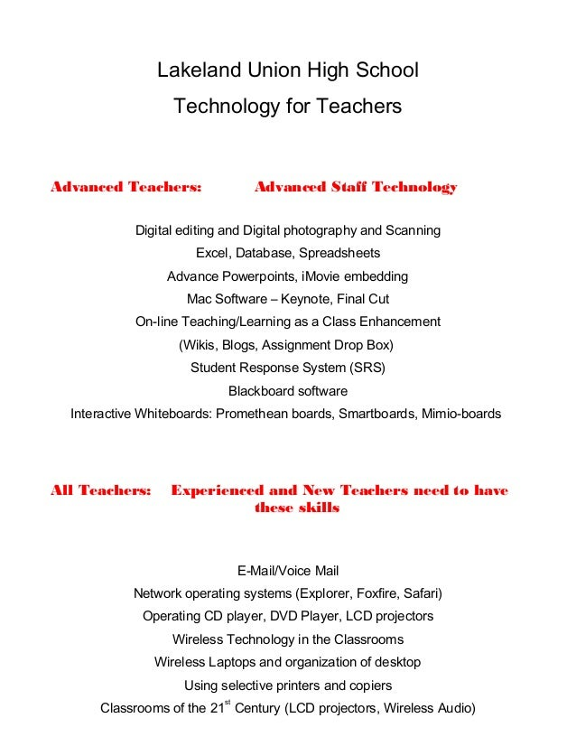 Lakeland Union High School Technology for Teachers Advanced Teachers: Advanced Staff Technology Digital editing and Digita...